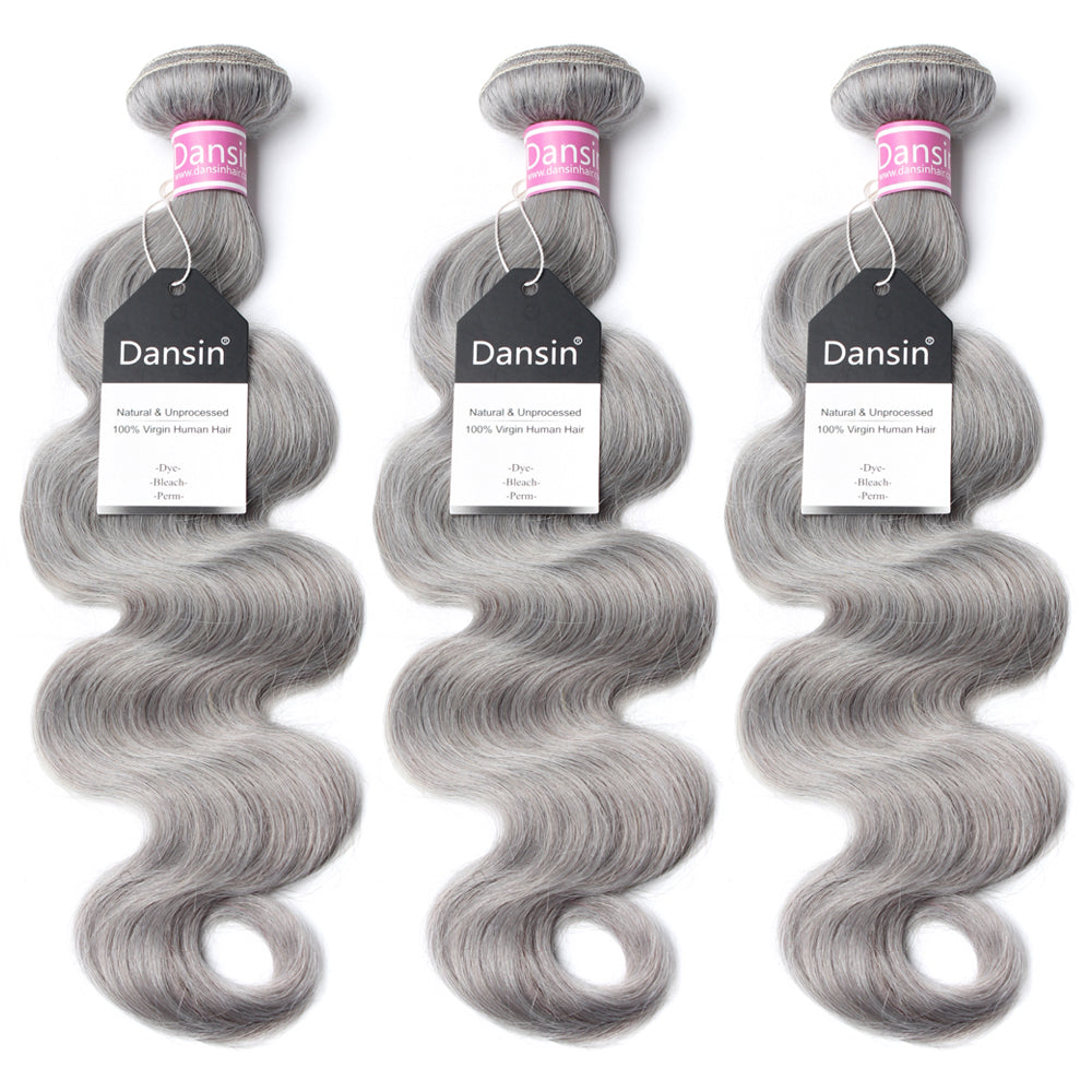Luxury 10A Peruvian Pure Gray Body Wave Hair 3 Bundles