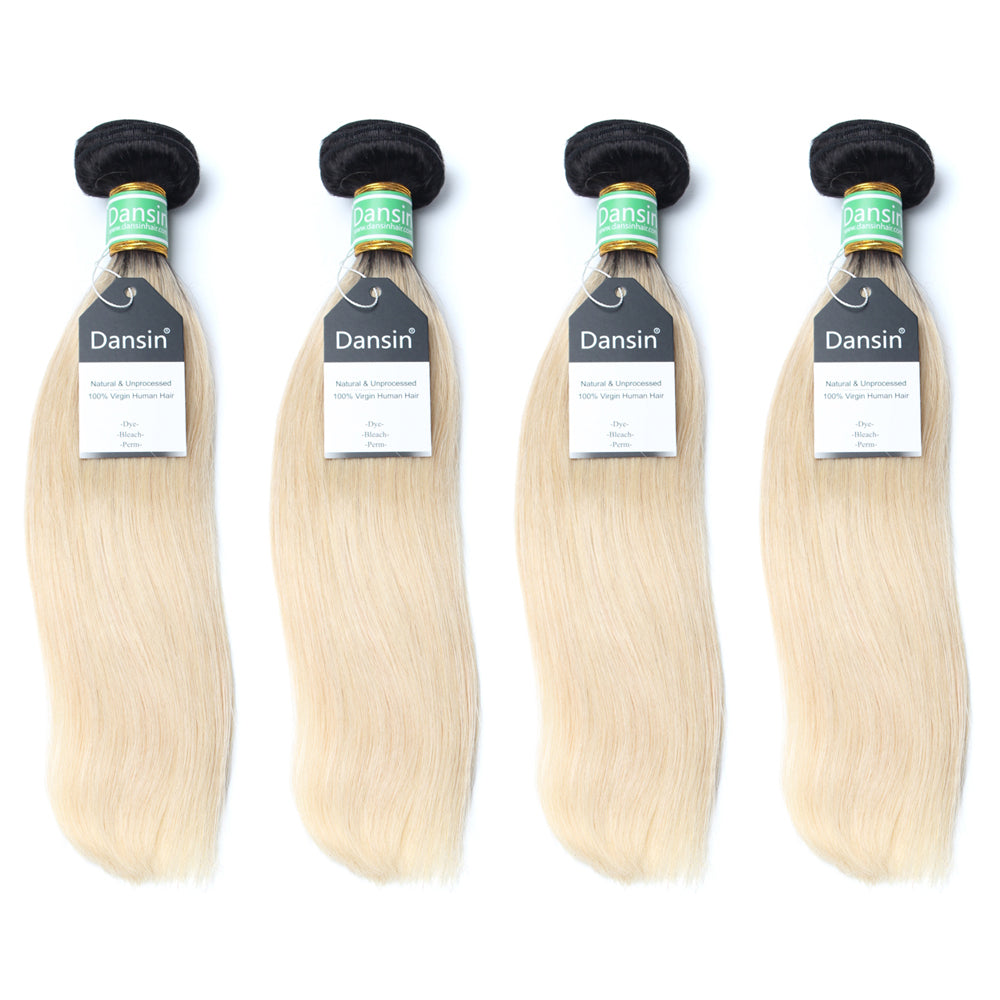 Luxury 10A 1B 613 Blonde Ombre Brazilian Straight Hair 4 Bundles