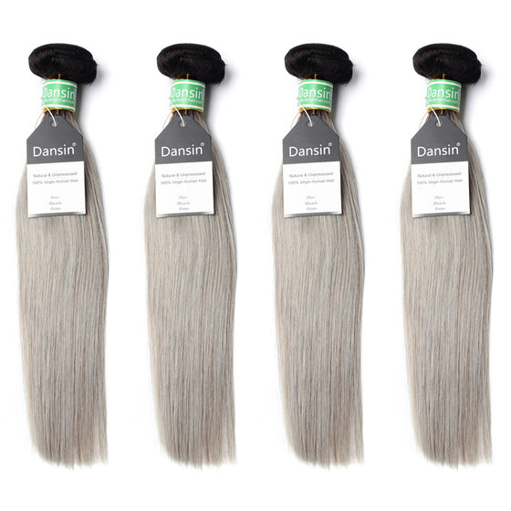 Luxury 10A Brazilian 1B Gray Ombre Straight Hair 4 Bundles