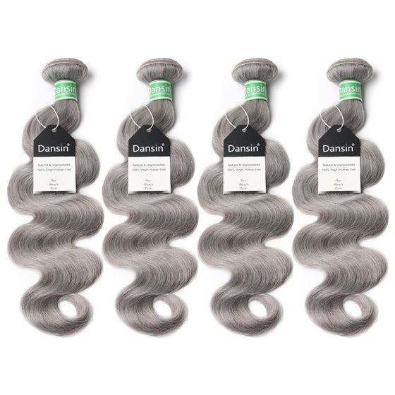 Luxury 10A Brazilian Pure Gray Body Wave Hair 4 Bundles