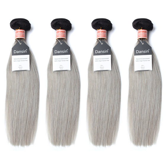Luxury 10A Malaysian 1B Gray Ombre Straight Hair 4 Bundles