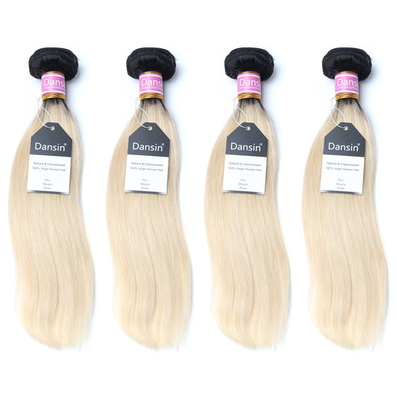 Luxury 10A 1B 613 Blonde Ombre Peruvian Straight Hair 4 Bundles