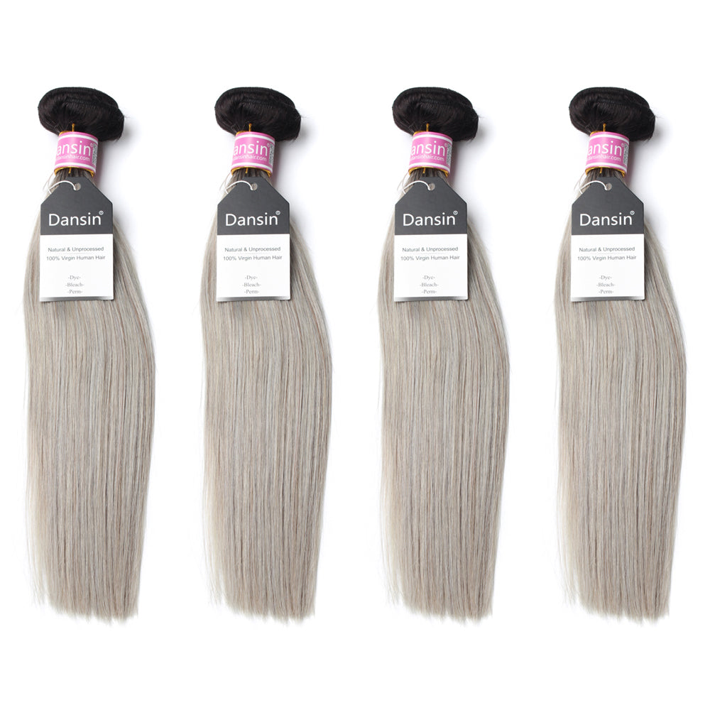 Luxury 10A Peruvian 1B Gray Ombre Straight Hair 4 Bundles