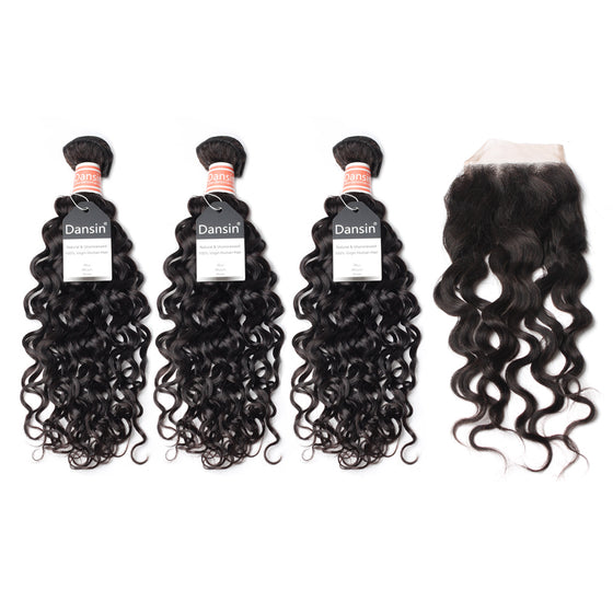 Luxury 10A Malaysian Natural Wave Hair 3 Bundles With 1 Pc Lace Closure