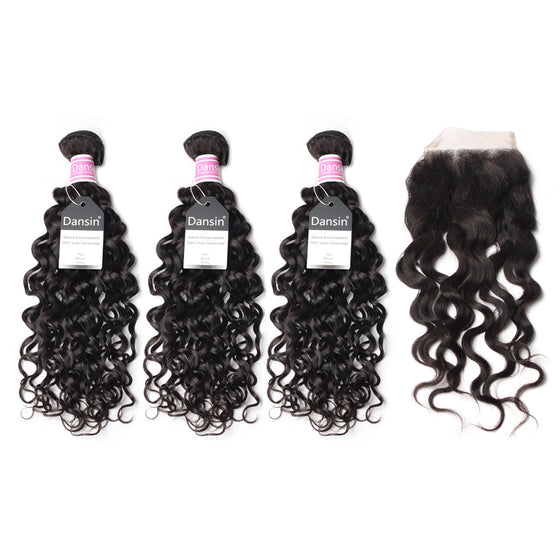 Luxury 10A Peruvian Natural Wave Hair 3 Bundles With 1 Pc Lace Closure