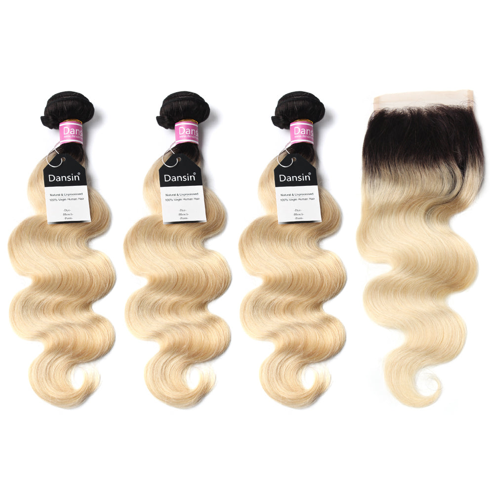Luxury 10A 1B 613 Blonde Ombre Peruvian Body Wave Hair 3 Bundles With 1 Pc Lace Closure
