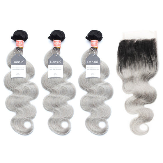 Luxury 10A Malaysian 1B Gray Ombre Body Wave Hair 3 Bundles With 1 Pc Lace Closure