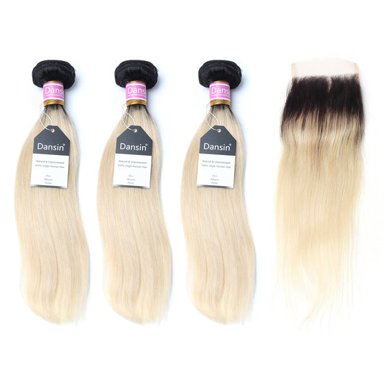 Luxury 10A 1B 613 Blonde Ombre Peruvian Straight Hair 3 Bundles With 1 Pc Lace Closure