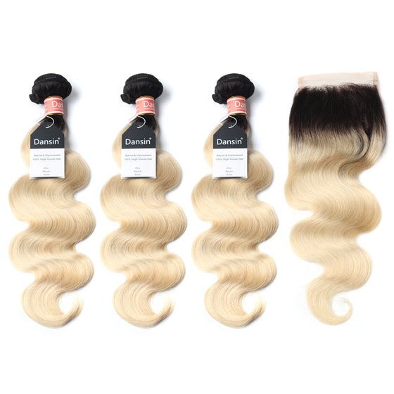 Luxury 10A 1B 613 Blonde Ombre Malaysian Body Wave Hair 3 Bundles With 1 Pc Lace Closure