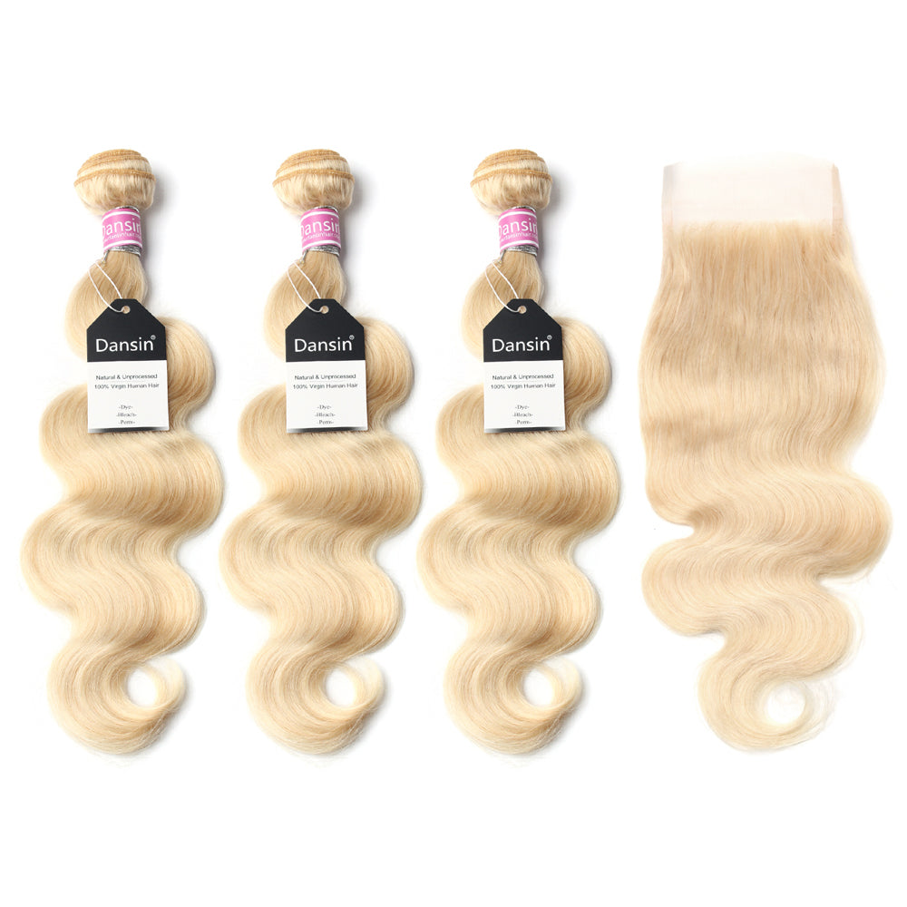 Luxury 10A 613 Blonde Peruvian Body Wave Hair 3 Bundles With 1 Pc Lace Closure