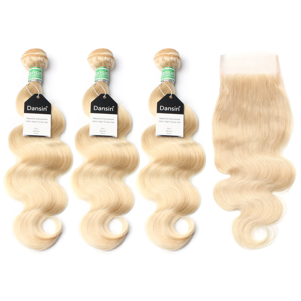 Luxury 10A 613 Blonde Brazilian Body Wave Hair 3 Bundles With 1 Pc Lace Closure