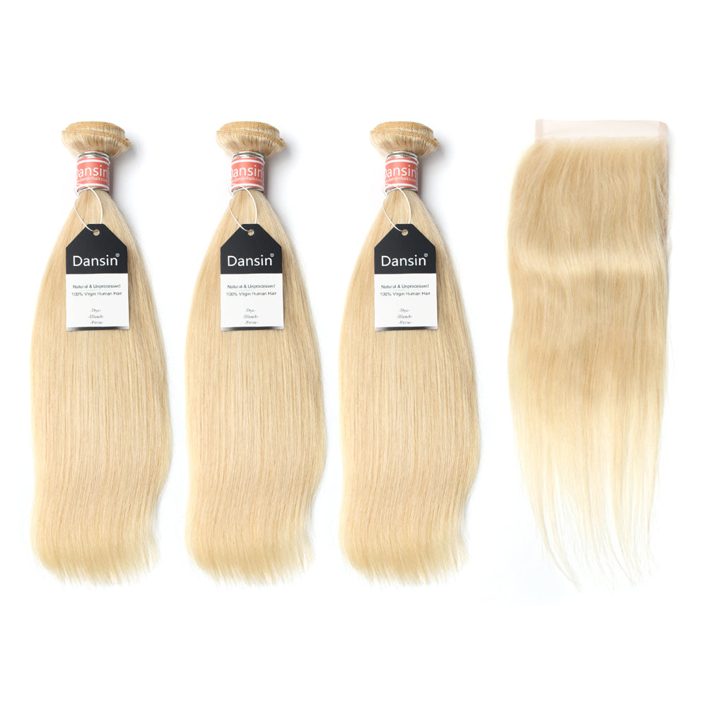 Luxury 10A Malaysian 613 Blonde Straight Hair 3 Bundles With 1 Pc Lace Closure