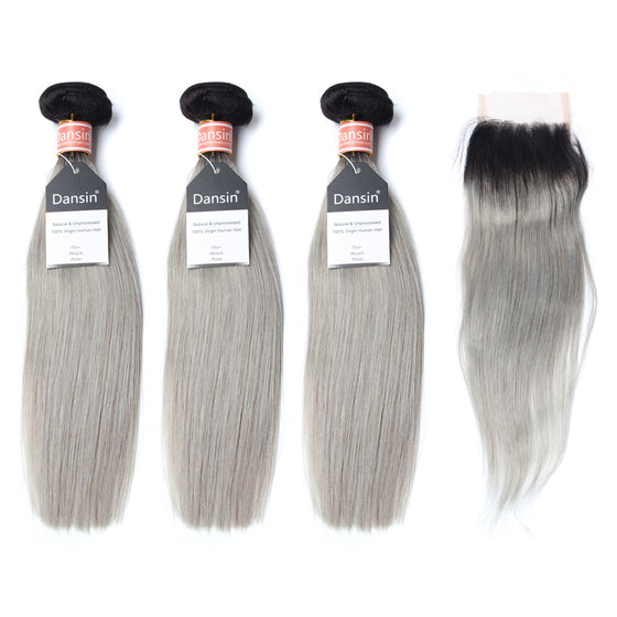 Luxury 10A Malaysian 1B Gray Ombre Straight Hair 3 Bundles With 1 Pc Lace Closure