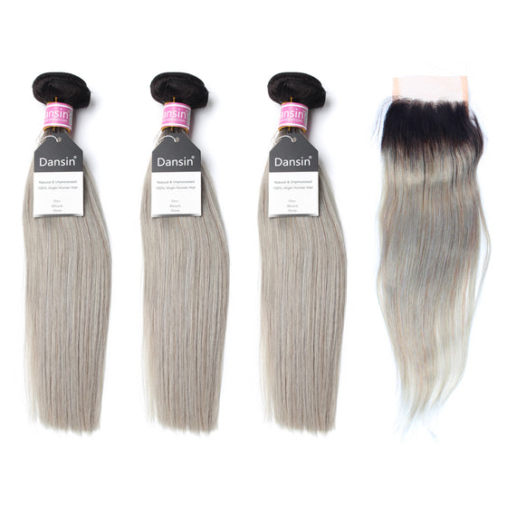 Luxury 10A Peruvian 1B Gray Ombre Straight Hair 3 Bundles With 1 Pc Lace Closure