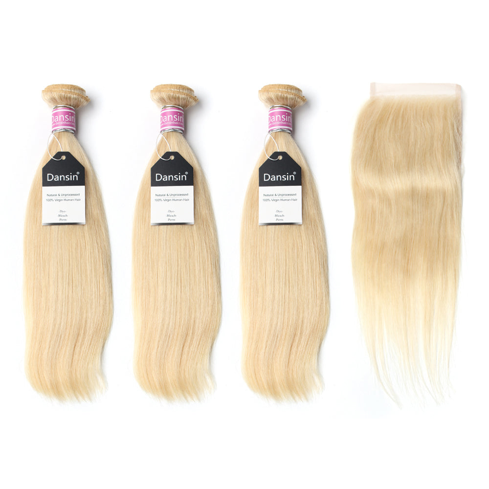 Luxury 10A Peruvian 613 Blonde Straight Hair 3 Bundles With 1 Pc Lace Closure