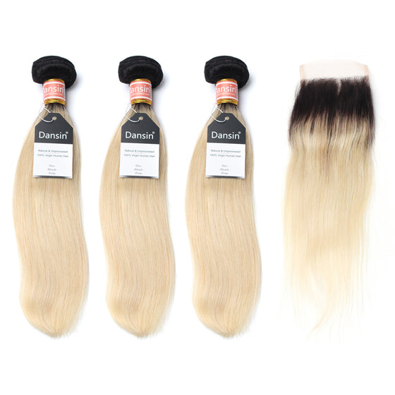 Luxury 10A 1B 613 Blonde Ombre Malaysian Straight Hair 3 Bundles With 1 Pc Lace Closure