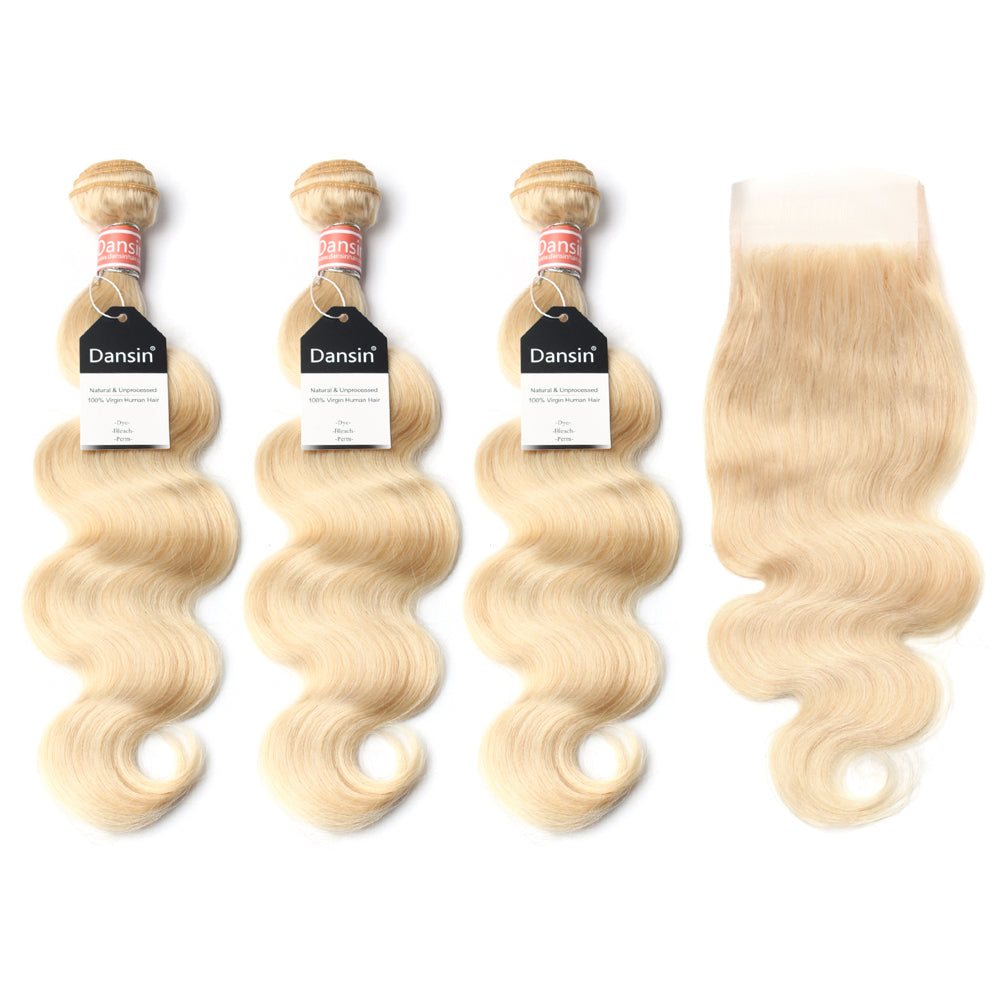 Luxury 10A 613 Blonde Malaysian Body Wave Hair 3 Bundles With 1 Pc Lace Closure