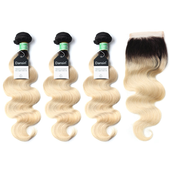 Luxury 10A 1B 613 Blonde Ombre Brazilian Body Wave Hair 3 Bundles With 1 Pc Lace Closure