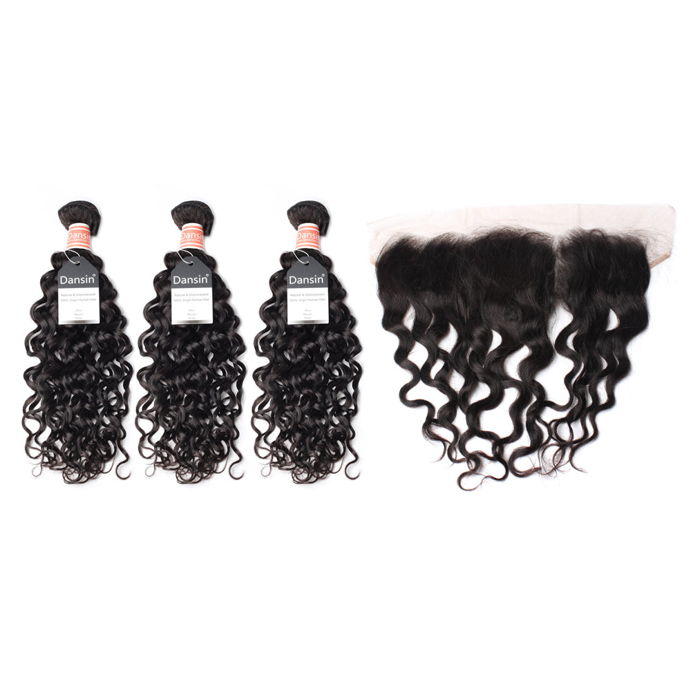 Luxury 10A Malaysian Natural Wave Hair 3 Bundles With 1 Pc Lace Frontal
