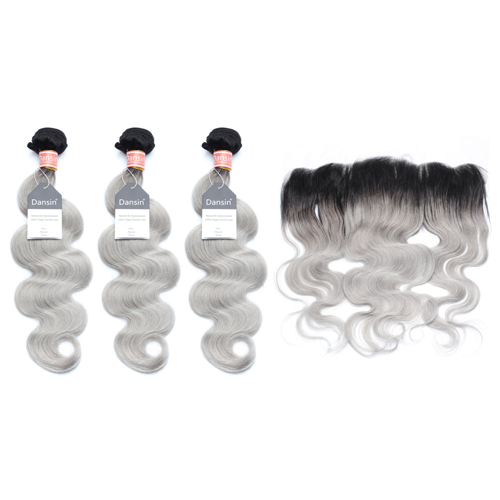 Luxury 10A Malaysian 1B Gray Ombre Body Wave Hair 3 Bundles With 1 Pc Lace Frontal