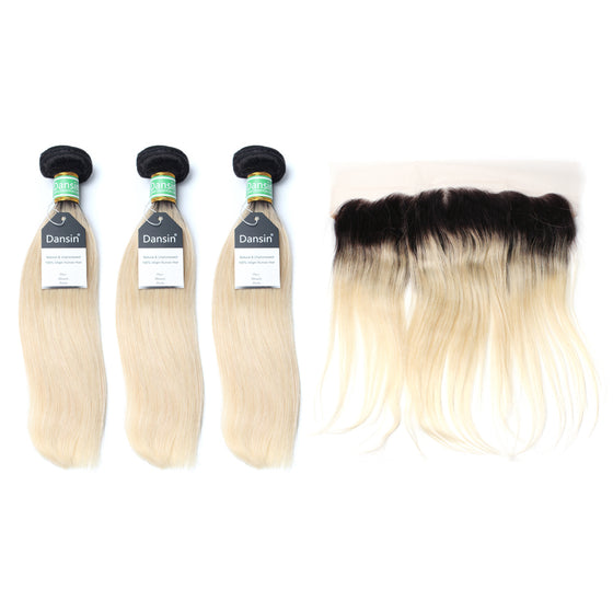 Luxury 10A 1B 613 Blonde Ombre Brazilian Straight Hair 3 Bundles With 1 Pc Lace Frontal