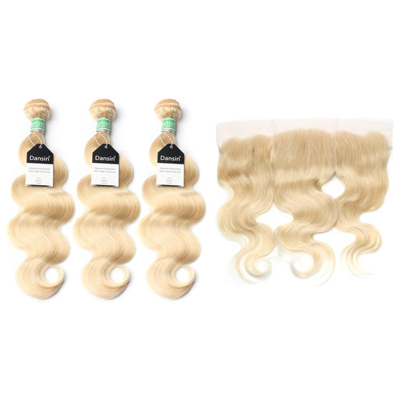 Luxury 10A 613 Blonde Brazilian Body Wave Hair 3 Bundles With 1 Pc Lace Frontal
