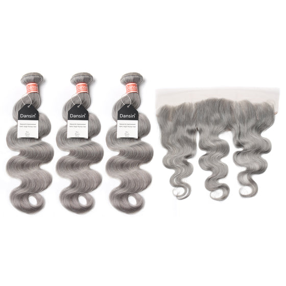 Luxury 10A Malaysian Pure Gray Body Wave Hair 3 Bundles With 1 Pc Lace Frontal