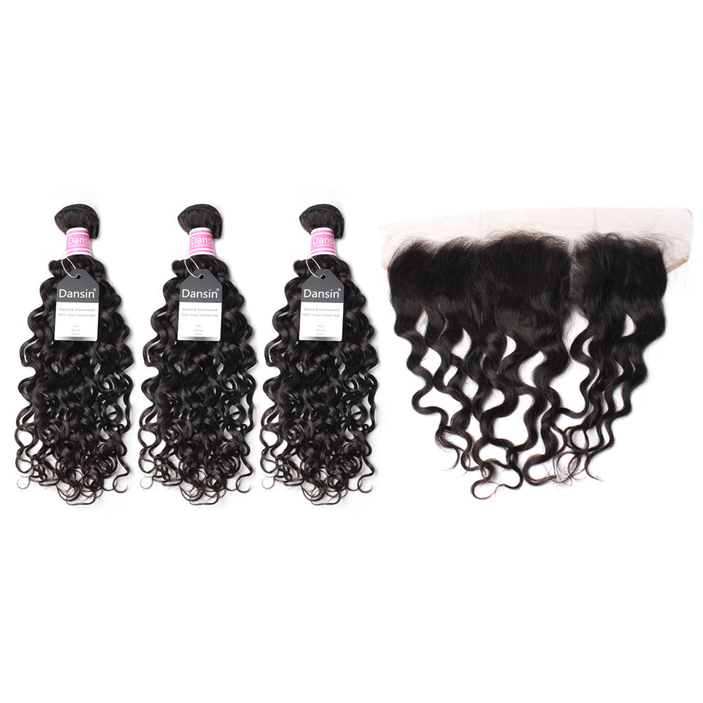 Luxury 10A Peruvian Natural Wave Hair 3 Bundles With 1 Pc Lace Frontal