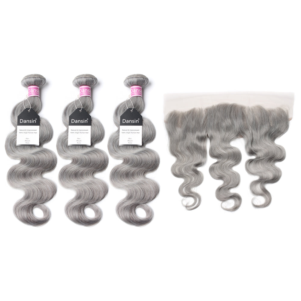 Luxury 10A Peruvian Pure Gray Body Wave Hair 3 Bundles With 1 Pc Lace Frontal