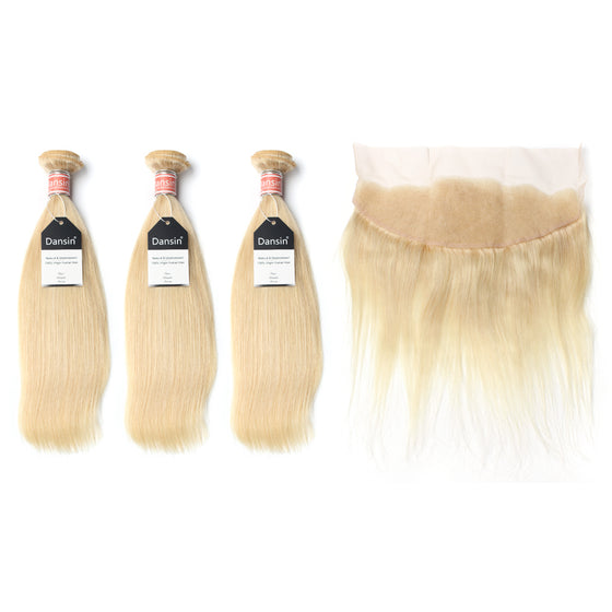 Luxury 10A Malaysian 613 Blonde Straight Hair 3 Bundles With 1 Pc Lace Frontal