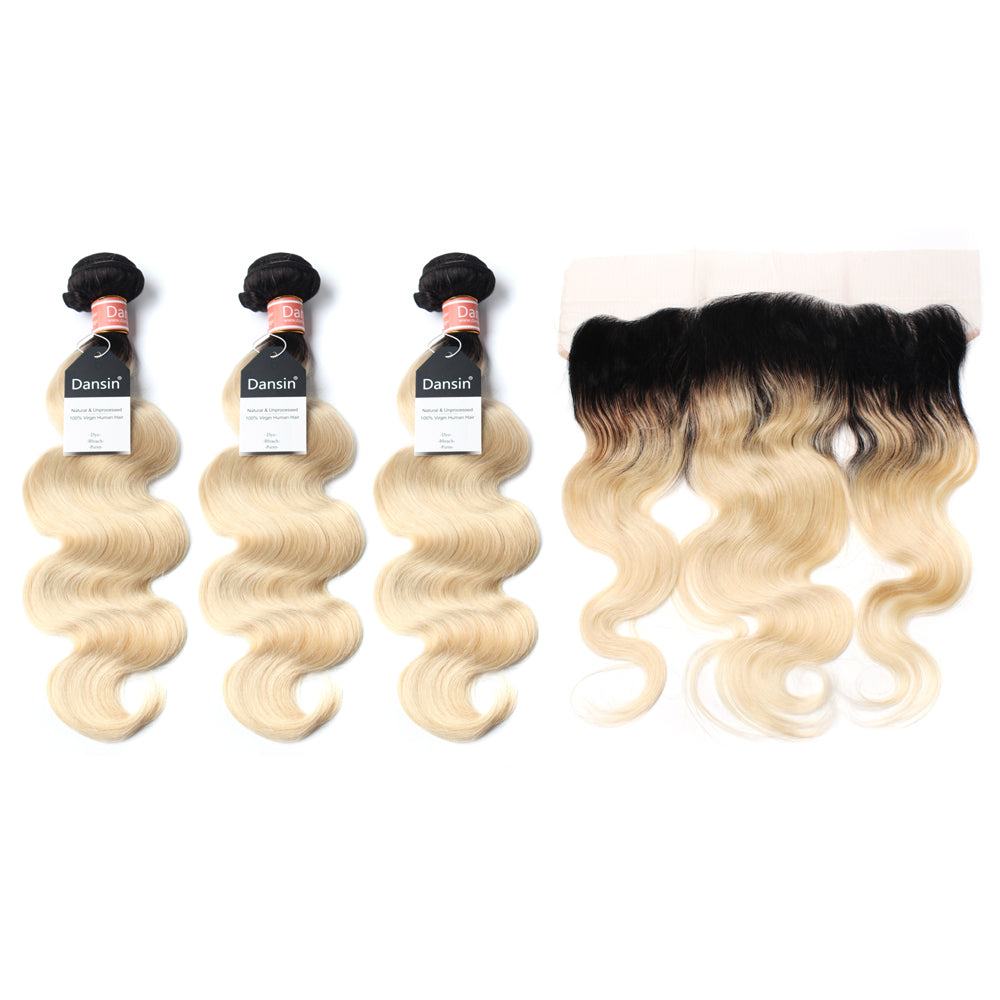 Luxury 10A 1B 613 Blonde Ombre Malaysian Body Wave Hair 3 Bundles With 1 Pc Lace Frontal