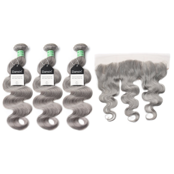 Luxury 10A Brazilian Pure Gray Body Wave Hair 3 Bundles With 1 Pc Lace Frontal