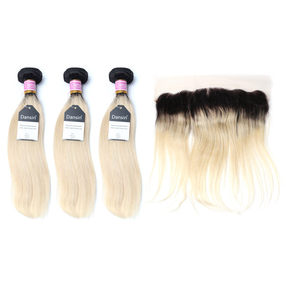 Luxury 10A 1B 613 Blonde Ombre Peruvian Straight Hair 3 Bundles With 1 Pc Lace Frontal