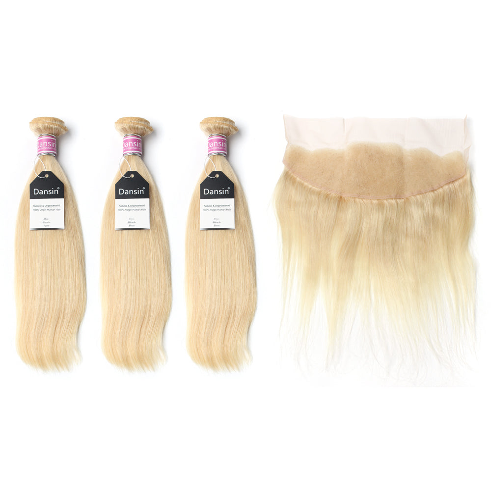 Luxury 10A Peruvian 613 Blonde Straight Hair 3 Bundles With 1 Pc Lace Frontal