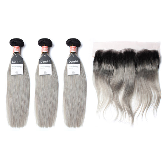 Luxury 10A Malaysian 1B Gray Ombre Straight Hair 3 Bundles With 1 Pc Lace Frontal