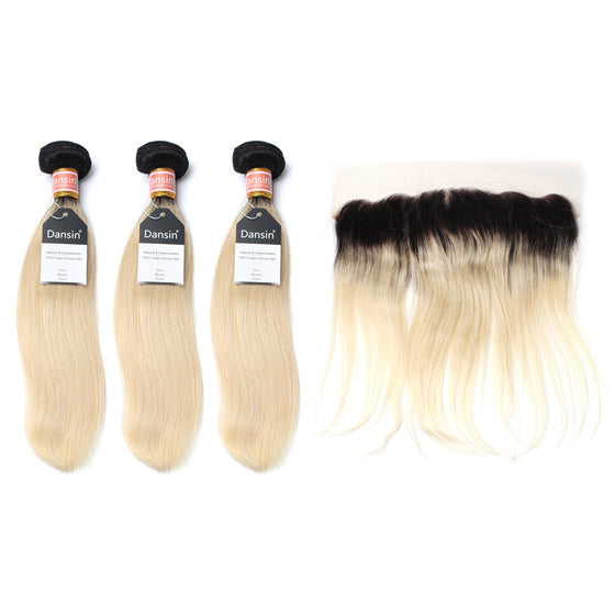Luxury 10A 1B 613 Blonde Ombre Malaysian Straight Hair 3 Bundles With 1 Pc Lace Frontal