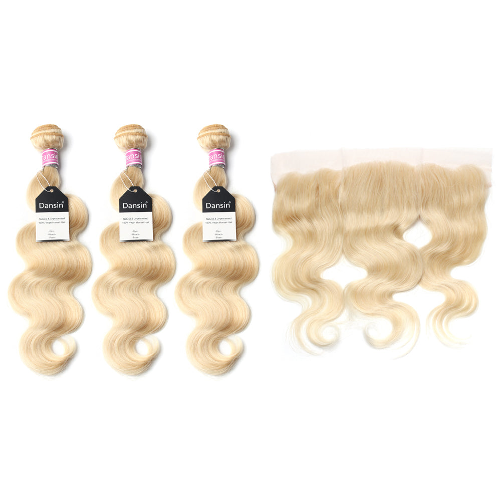 Luxury 10A 613 Blonde Peruvian Body Wave Hair 3 Bundles With 1 Pc Lace Frontal