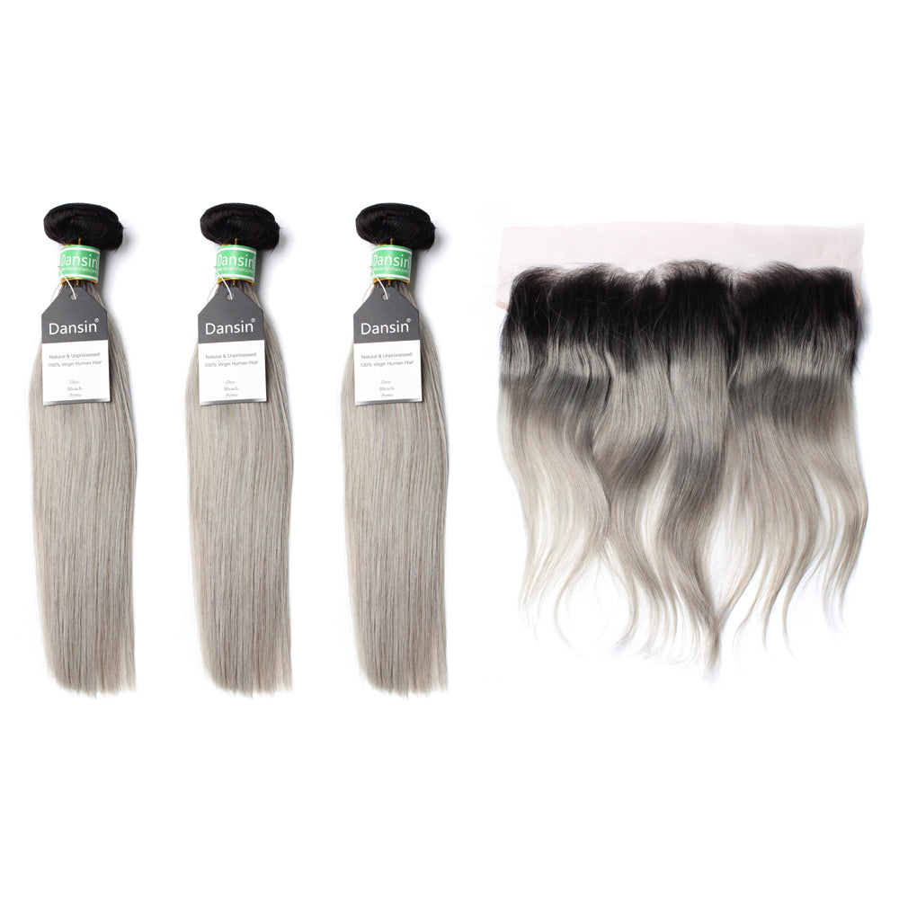 Luxury 10A Brazilian 1B Gray Ombre Straight Hair 3 Bundles With 1 Pc Lace Frontal