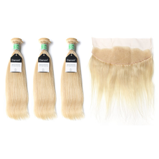 Luxury 10A Brazilian 613 Blonde Straight Hair 3 Bundles With 1 Pc Lace Frontal