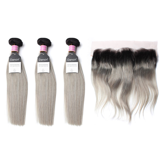 Luxury 10A Peruvian 1B Gray Ombre Straight Hair 3 Bundles With 1 Pc Lace Frontal