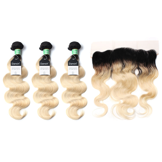 Luxury 10A 1B 613 Blonde Ombre Brazilian Body Wave Hair 3 Bundles With 1 Pc Lace Frontal