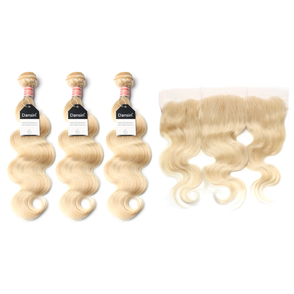 Luxury 10A 613 Blonde Malaysian Body Wave Hair 3 Bundles With 1 Pc Lace Frontal