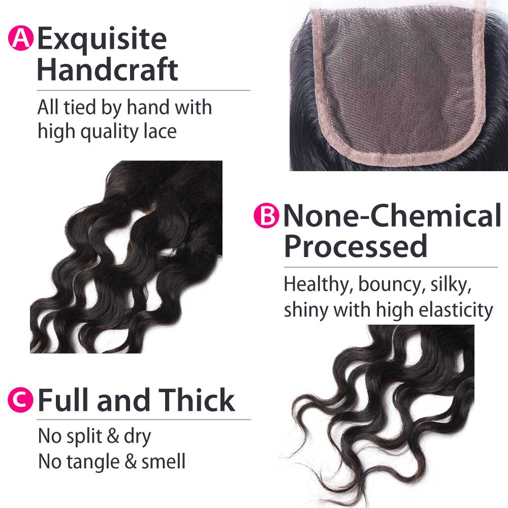Luxury 10A Peruvian Natural Wave Hair Lace Closure Details