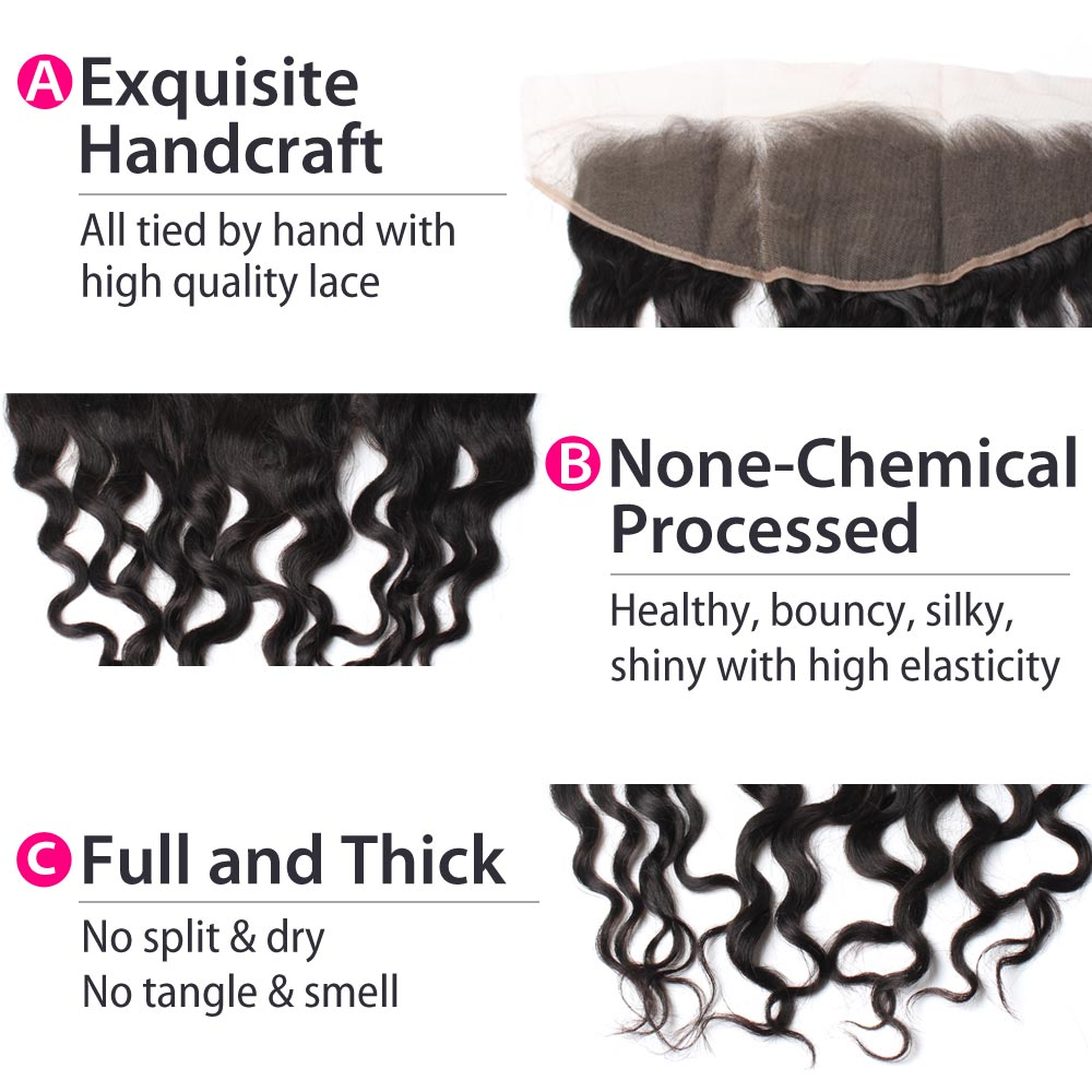 Luxury 10A Malaysian Natural Wave Lace Frontal Details