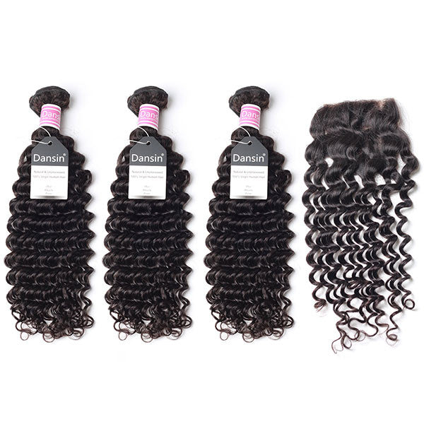 Peruvian Deep Wave Hair 3 Bundles With 1 Pc Lace Closure