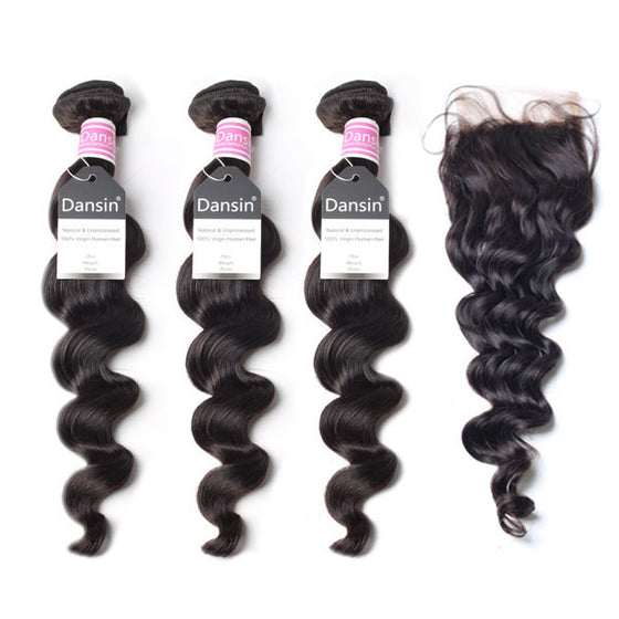 Luxury 10A Peruvian Loose Wave Hair 3 Bundles With 1 Pc Lace Closure