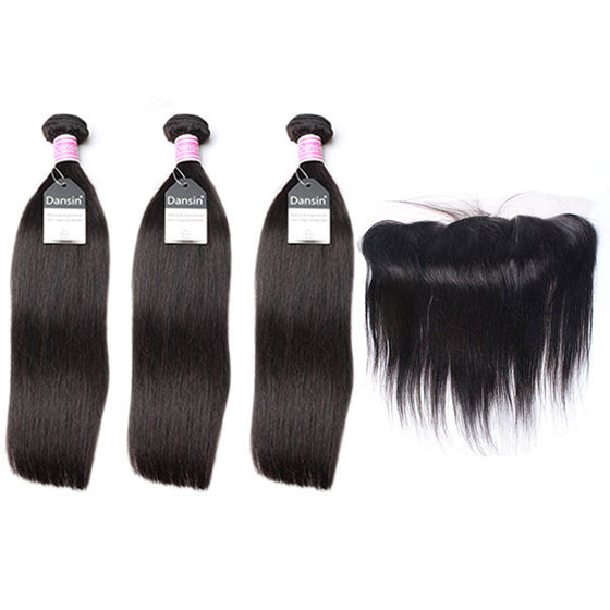 Luxury 10A Peruvian Straight Hair 3 Bundles With 1 Pc Lace Frontal