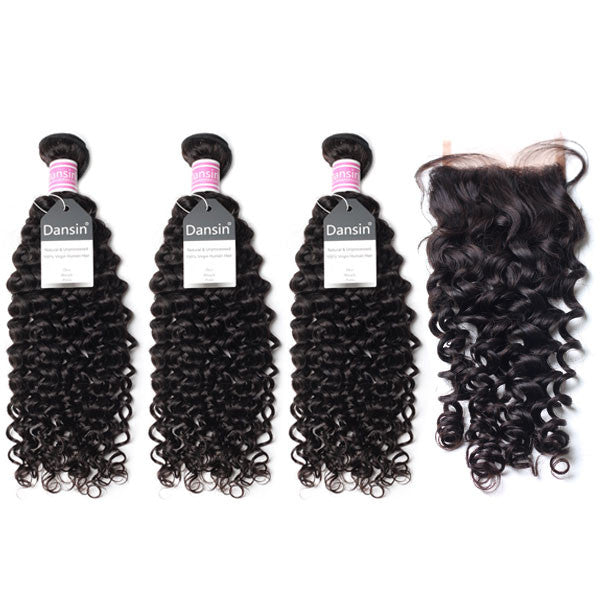 Peruvian Curly Hair 3 Bundles With 1 Pc Lace Closure