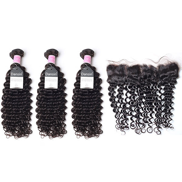 Peruvian Deep Wave Hair 3 Bundles With 1 Pc Lace Frontal