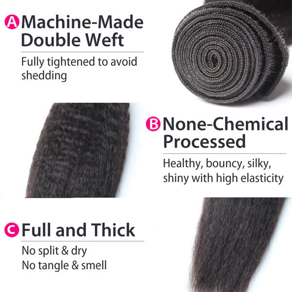 Luxury 10A Peruvian Kinky Straight Hair 3 Bundles Details